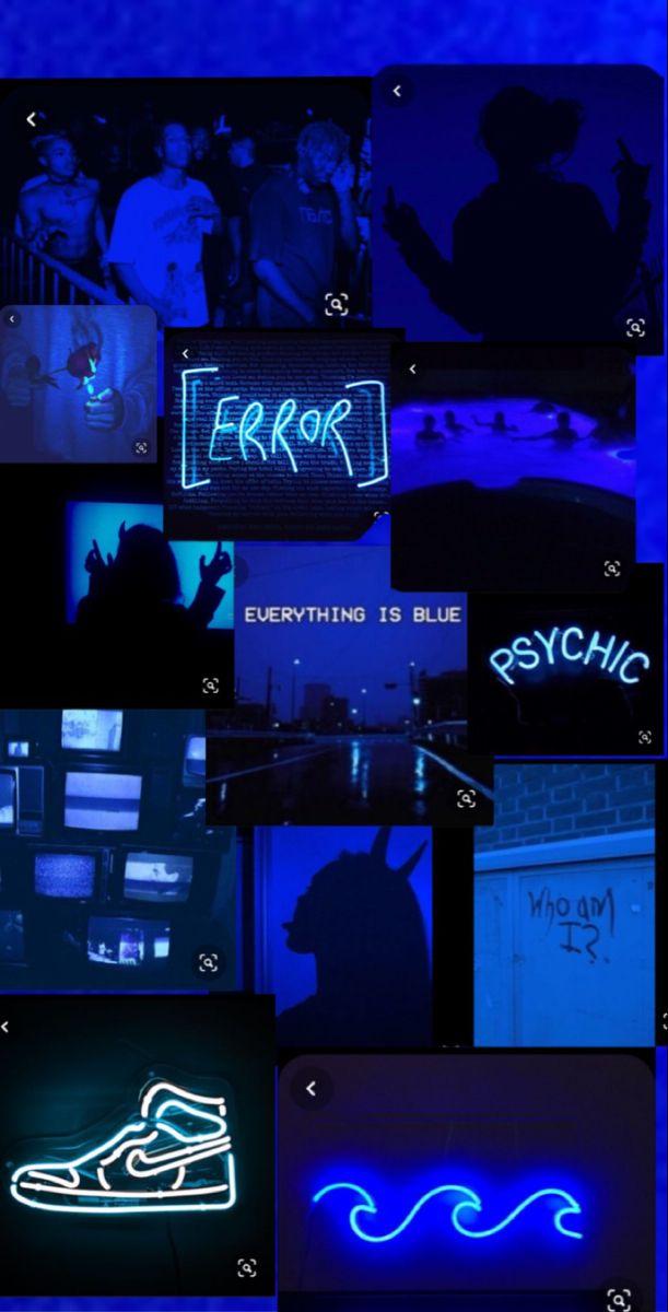 Blue Grunge Collage Cute Blue Wallpaper Dark Wallpaper Iphone Blue Aesthetic Pastel