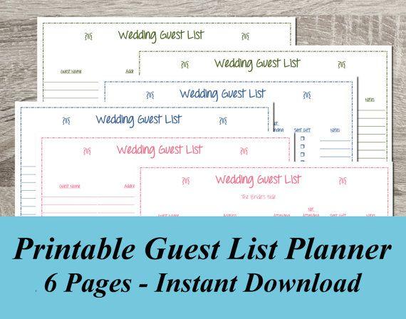 INSTANT DOWNLOAD Wedding Guest List PDF Wedding Planning ...