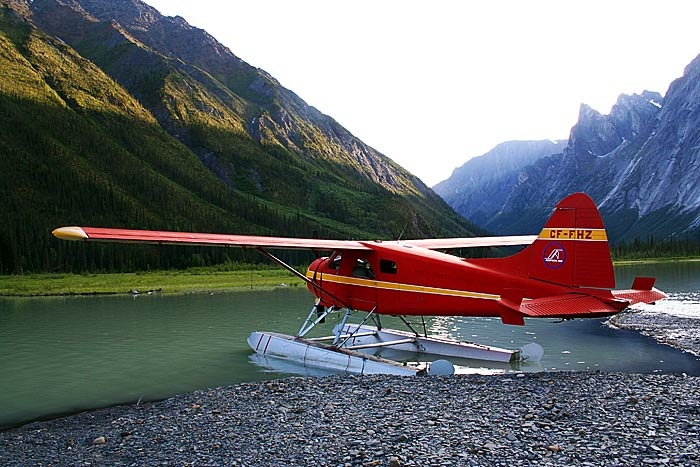 Float planes and ski planes are a typical mode of transportation between communities. This one is about to take off from Glacier Lake for a flight tour over Nahanni National Park!