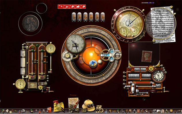 This is my Steampunk Desktop MkII, all my widgets and icons in place and functioning - I can put this on your desktop, just ask.