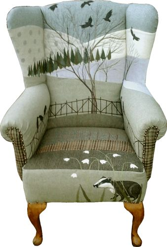 rustique interiors upholstered chair with badger snowdrops and crows