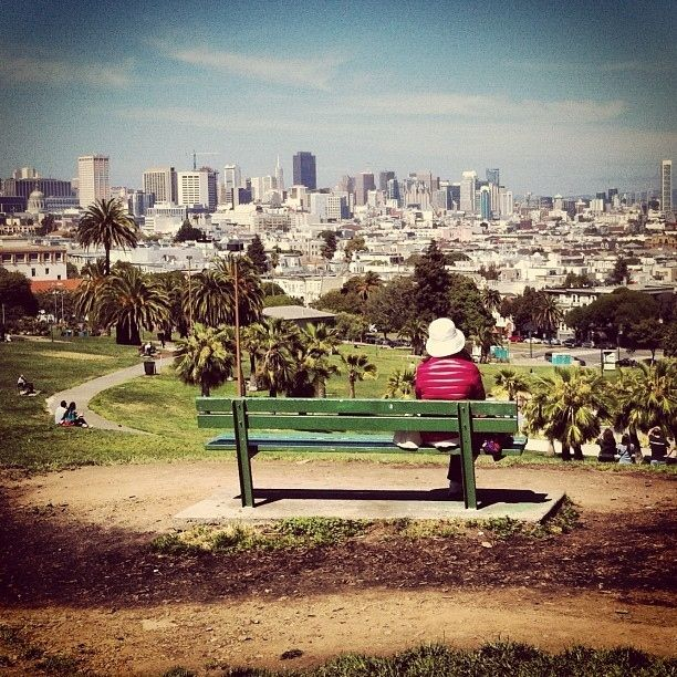 Bench + view of the city = best ever.  (Delores Park, San Francisco)
