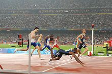 Jeremy Wariner finishing 2nd to lashawn merrit in 2008 Olympic 400m final