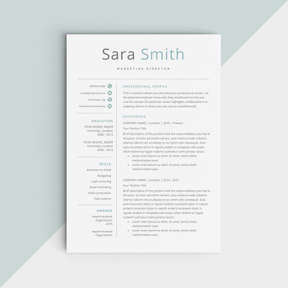 CV Template | Resume Template by Comely Design Studio on @creativemarket