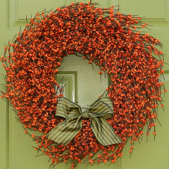 Fall Door Decor - Autumn Door Wreath - Berry Wreath on Etsy, $55.00