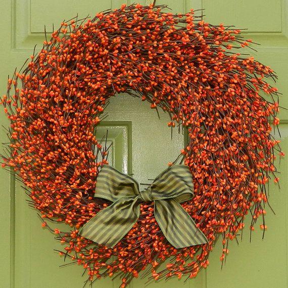 Fall Door Decor - Autumn Door Wreath - Berry Wreath on Etsy, $55.00