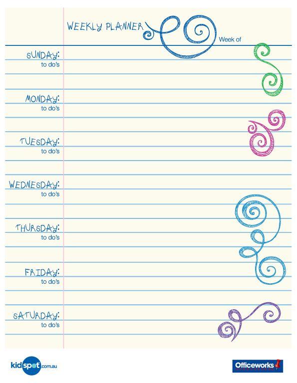 Printable Weekly Planner Calendars | Printable 15 minute organisation chart