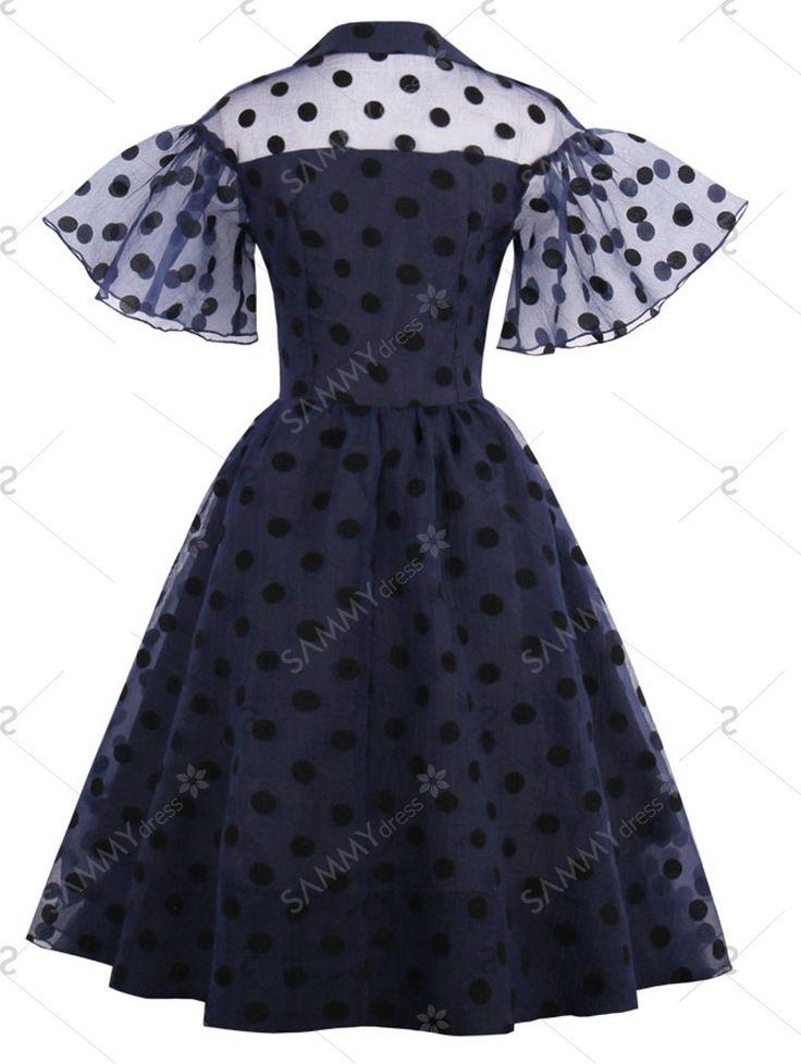 Polka Dot Retro Pin Up Dress in Purplish Blue | Sammydress.com