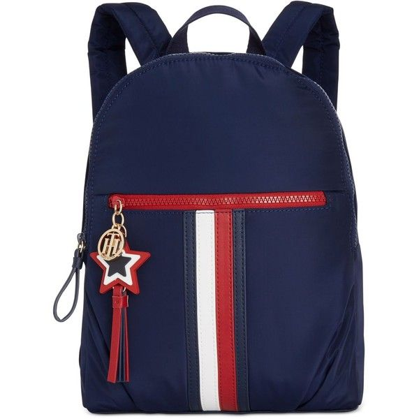 Tommy Hilfiger Karina Small Backpack ($118) ❤ liked on Polyvore featuring bags, backpacks, tommy navy, navy bag, blue backpack, nylon backpacks, stripe backpack and tommy hilfiger bags