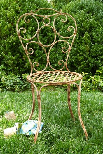 Giverny Garden Chair - Iron Garden Chair, Cushion Iron Chair | Soft Surroundings