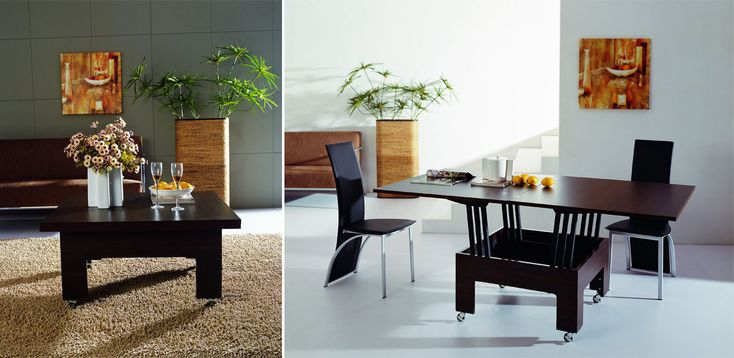 <strong>Mesa de centro e jantar: </strong>fabricada em madeira e aço, é expansível para ser utilizada como mesa de jantar. Boa opção para uma sala de jantar pequena.