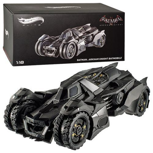 """It's The Hot Wheels Elite 1:18 Scale Diecast - Batman Arkham Knight Batmobile. Based on the Batmobile in the Arkham Knight video game. Measures about 13"""" long x 6"""" wide. Doors open to reveal a very de"""