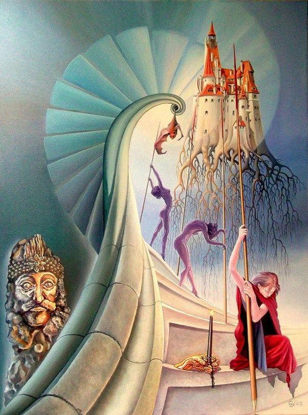 Pinturas surrealistas de Lohmuller Gyuri #art #oil #canvas #paintings #sale #original #surreal #symbolic #symbolism #fantasy #conceptual #realism #surrealism #world #music #religion #sky #belief #phylosophy #mythology
