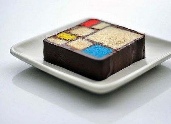 Mondrian cake from Modern Art Desserts, Caitlin Freeman (pastry chef at SF Museum of Modern Art) by way of brainpickings.org