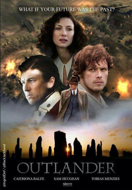 "Outlander - Caitriona Balfe (Claire Randall), Sam Heughan (Jamie Fraser), Tobias Menzies (Frank Randall / Jonathan ""Black Jack"" Randall)"