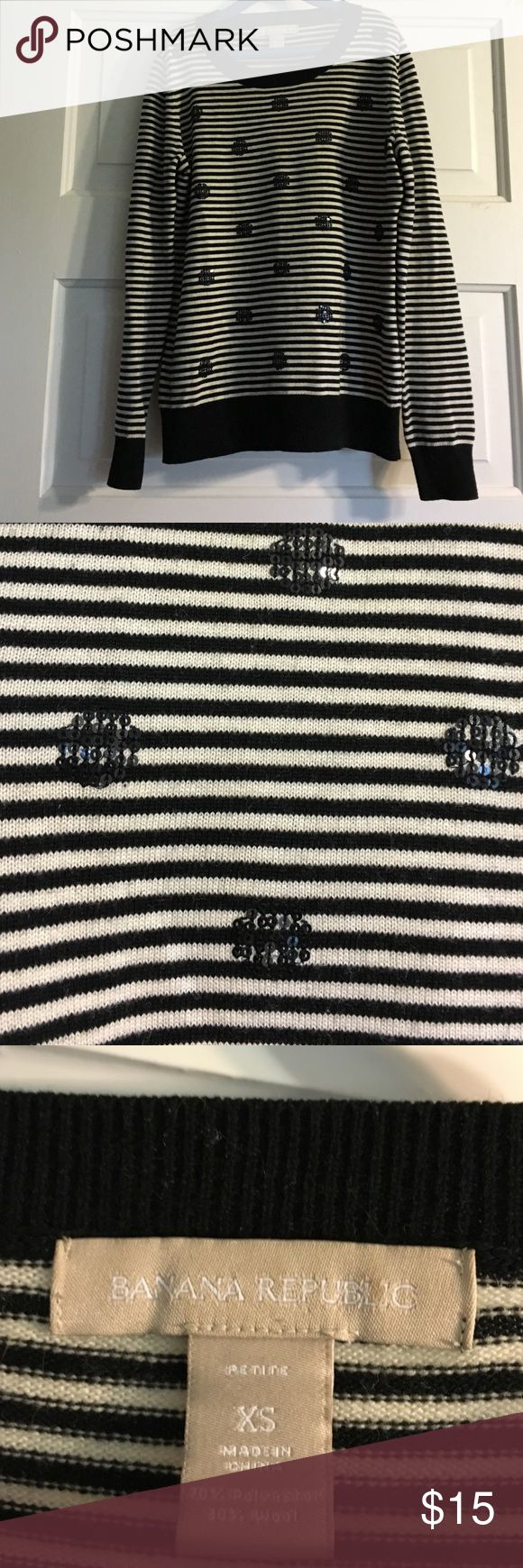 """Banana Republic Striped Sequin XS Petite Sweater Adorable sweater in good used condition. Slight pilling under arms. Very soft. 16"""" armpit to armpit. 20.5"""" top of shoulder to hem. 16"""" from under arm to bottom of sleeve. Banana Republic Sweaters Crew & Scoop Necks"""