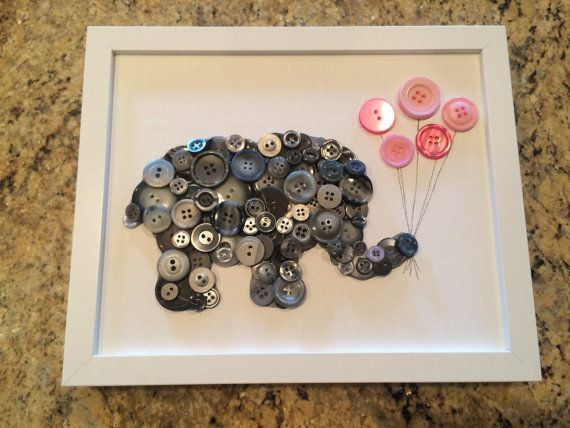 Framed Kids Button Art Elephant with Balloons on by ChampsyKids