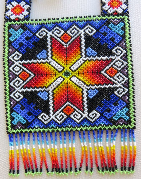 Mexican Huichol Square Beaded Chest Plate Star Necklace by Aramara