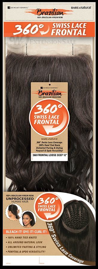 Wig Extension Sale - Sensationnel Bare&Natural 360 Lace Frontal Brazilian Yaki 12""