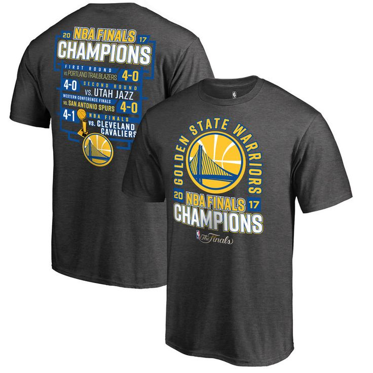 Golden State Warriors Fanatics Branded 2017 NBA Finals Champions Schedule T-Shirt - Heathered Charcoal
