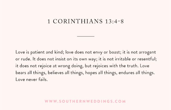 Wedding ceremony reading from 1 Corinthians 13