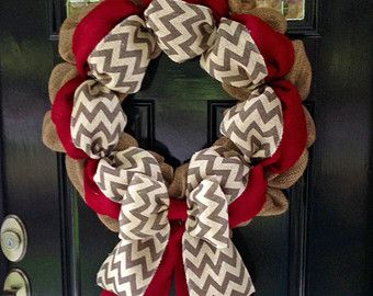 Chevron Burlap Wreath for front door or accent - Red, White, Gray, and Natural - Fall, Winter, All Year