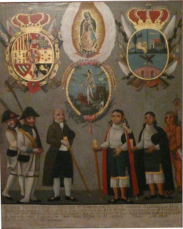 From Wikiwand: Cuadro novohispano festejando la entronación de Fernando VII en 1808, nótese los signos novohispanos y españoles a la vez.Museo Nacional de Historia