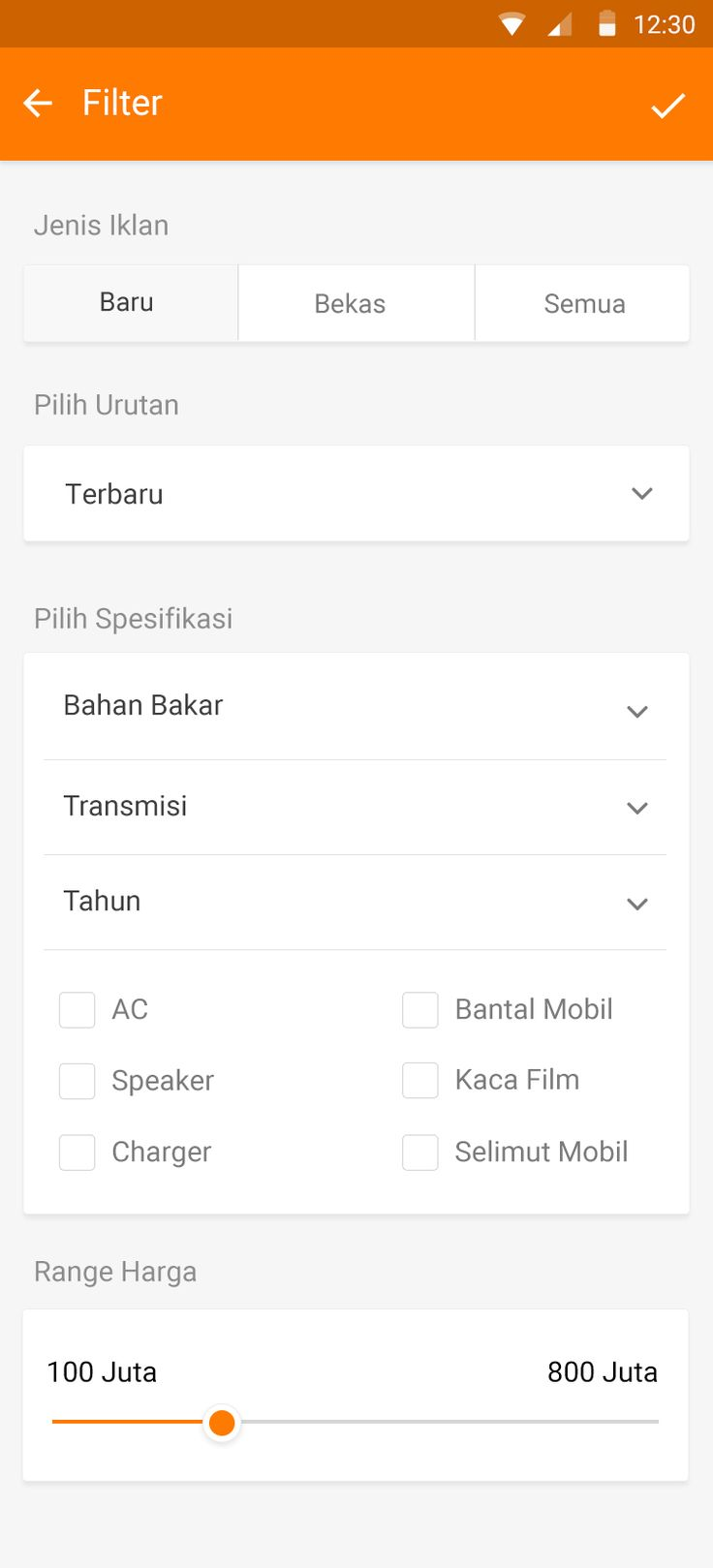 Android kategori filter
