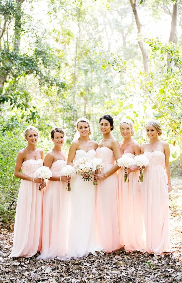 Totally What I Picture For My Bridal Party But With A Diff Color Ahhhh Love The Strapless Flowy Long Bridesmaid Dresses