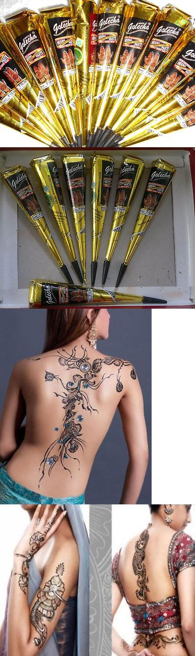 Temporary Tattoos: 36 Black Color Herbal Henna Cones Temporary Tattoo Body Art Ink Hina Kit Mehandi -> BUY IT NOW ONLY: $36.23 on eBay!