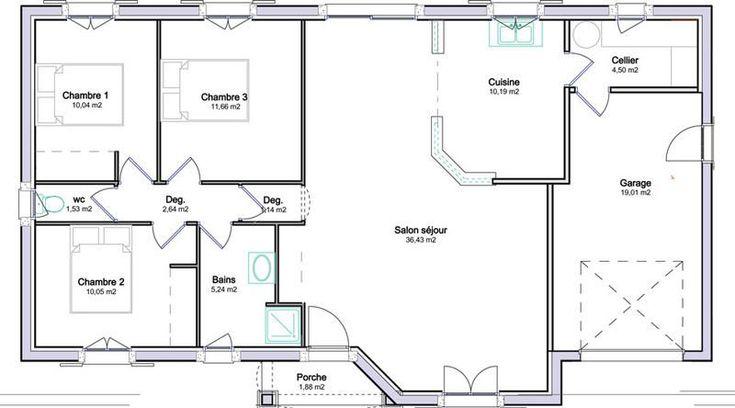 plan maison plain pied 100m2 avec garage en 2019 | Plan maison plain pied, Plan maison et Maison ...