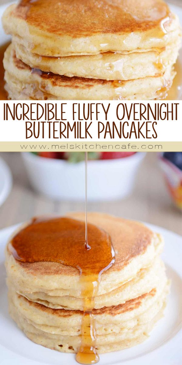 You've never met a fluffier, tastier pancake until you've tried these overnight pancakes. The buttermilk batter is stirred together the night before so breakfast the next morning is easy as can be!