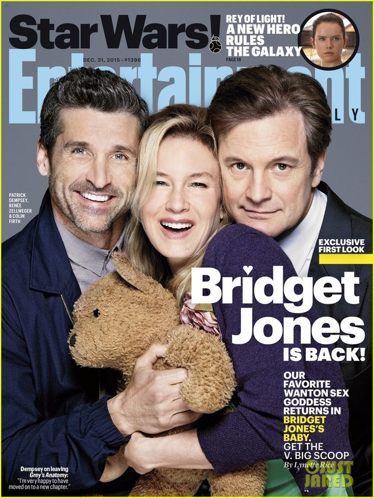 Renee Zellweger & 'Bridget Jones' Baby' Cast Cover 'EW'  Renee Zellweger is sandwiched in between her leading men Patrick Dempsey and Colin Firth on the cover of Entertainment Weekly's new issue.