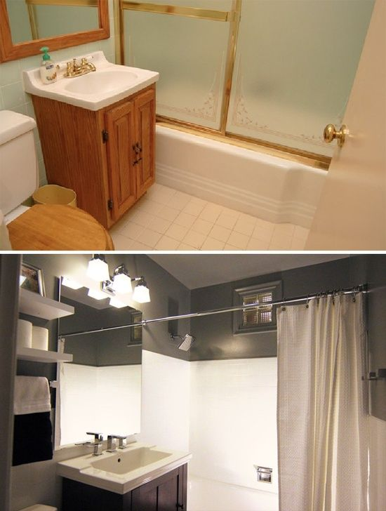 Small bathroom before and after home inspiration for Cheap home makeovers