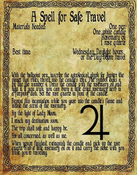 <3 Magick Spells:  A #Spell for #Safe #Travel.