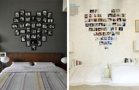 Decoração com fotos no quarto