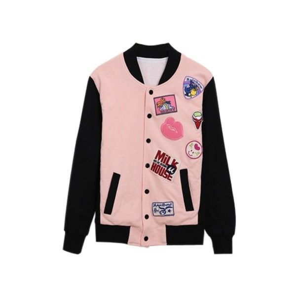 Pink Lady Varsity Jacket ($148) ❤ liked on Polyvore featuring outerwear, jackets, tops, pink, multi colored jacket, patch jacket, pocket jacket, college jacket and teddy jacket