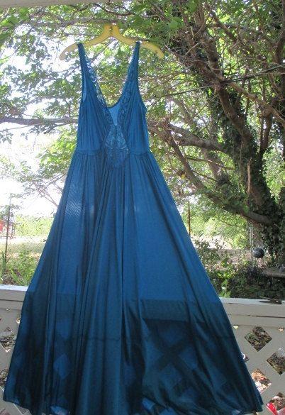 Vintage Olga Nightgown Teal XL Full Sweep long by WeeBitUsed, $129.00