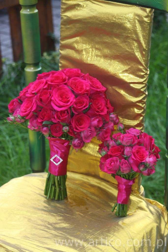 Bukiet ślubny dla druhny i dla Pani Młodej w kolorze fuksji   #fuksja #kolor #bukiet #ślubny www.artico.com.pl i www.facebook.com.pl/artico.kwiaty