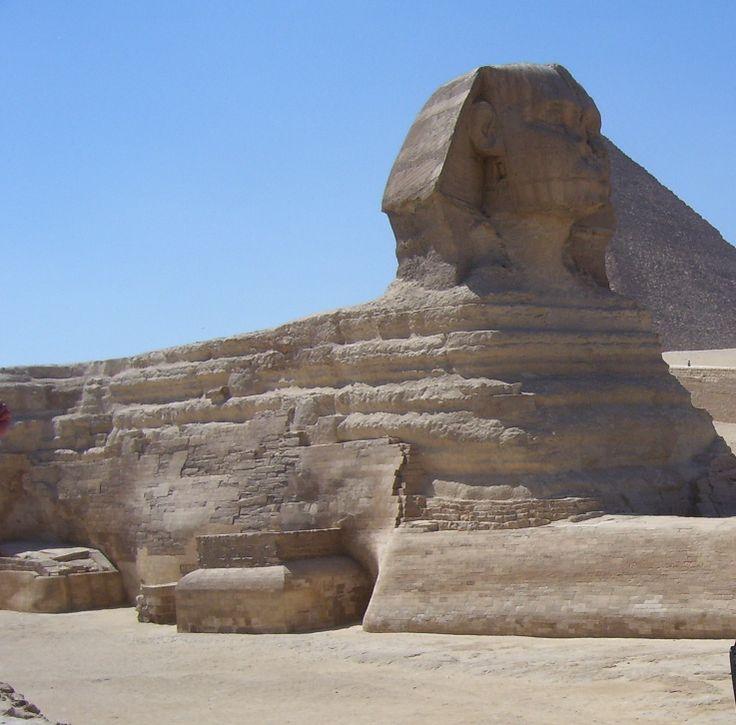 Sphinx Statue at Giza guarding the pyramids