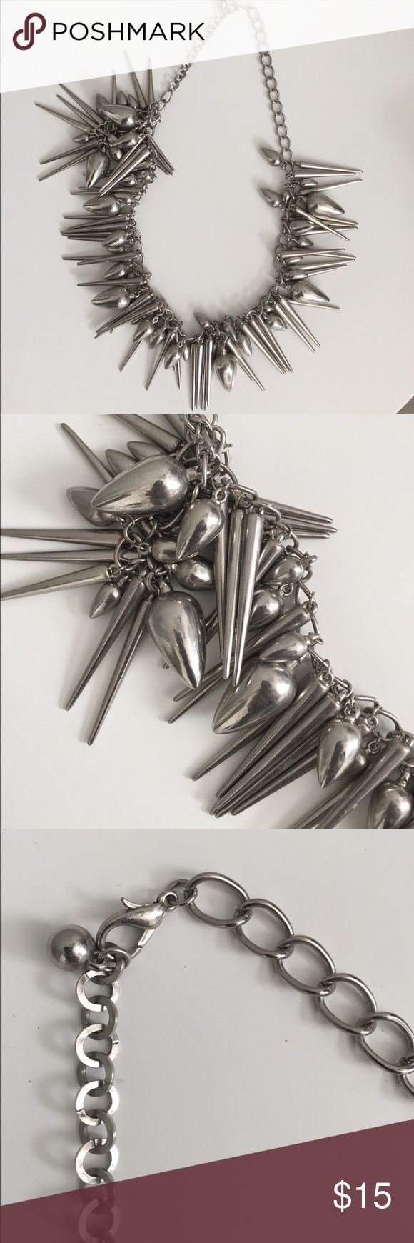 Edgy Chic spike necklace Chunky Silver spike necklace on chain that sits on lower chest. Hot Topic Jewelry Necklaces
