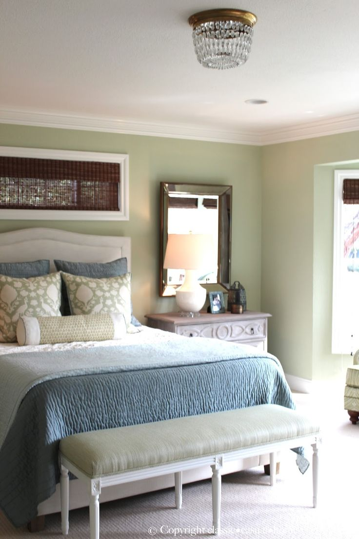 Blue and green bedroom - Classic Casual Home Soft Green And Aqua Blue Master Bedroom Before And After