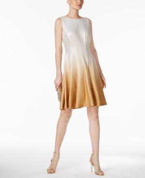 Msk Glitter Ombre Metallic Fit   Flare Dress - White gold 12 ... 7bb25b189da3