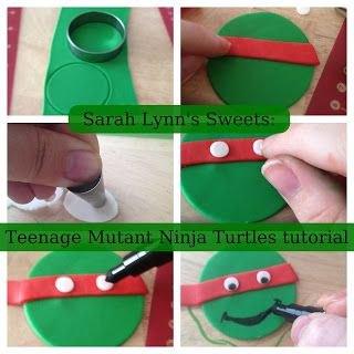 Teenage Mutant Ninja Turtle cupcake toppers -I sure hope that marker is edible, otherwise his face would taste TERRIBLE