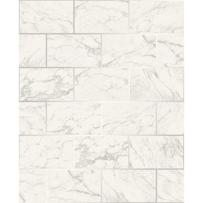 Crown Mirren Off White Marble Subway Tile Wallpaper Lowes Com In 2021 Tile Wallpaper Marble Subway Tiles Wallpaper Roll