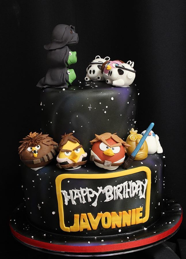 Handmade edible angry birds starwars style birthday/celebration cake topper