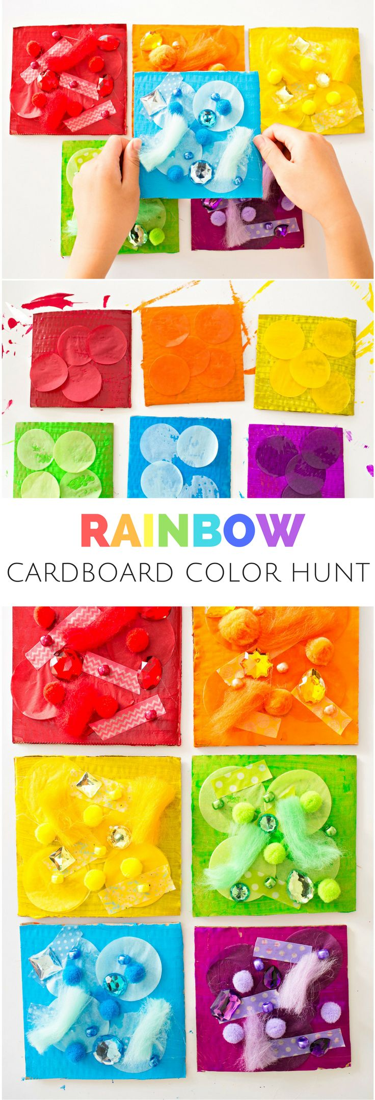 Rainbow Color Hunt Cardboard Art. Fun way to explore and learn colors with kids and make a colorful art project!