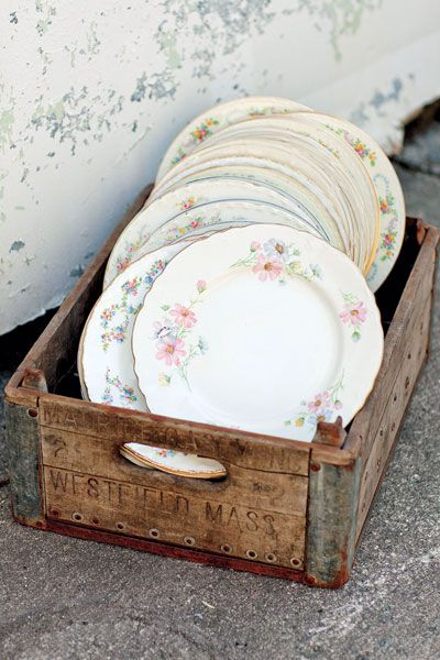Use mix-and-match china at your wedding for a fun shabby-chic vibe
