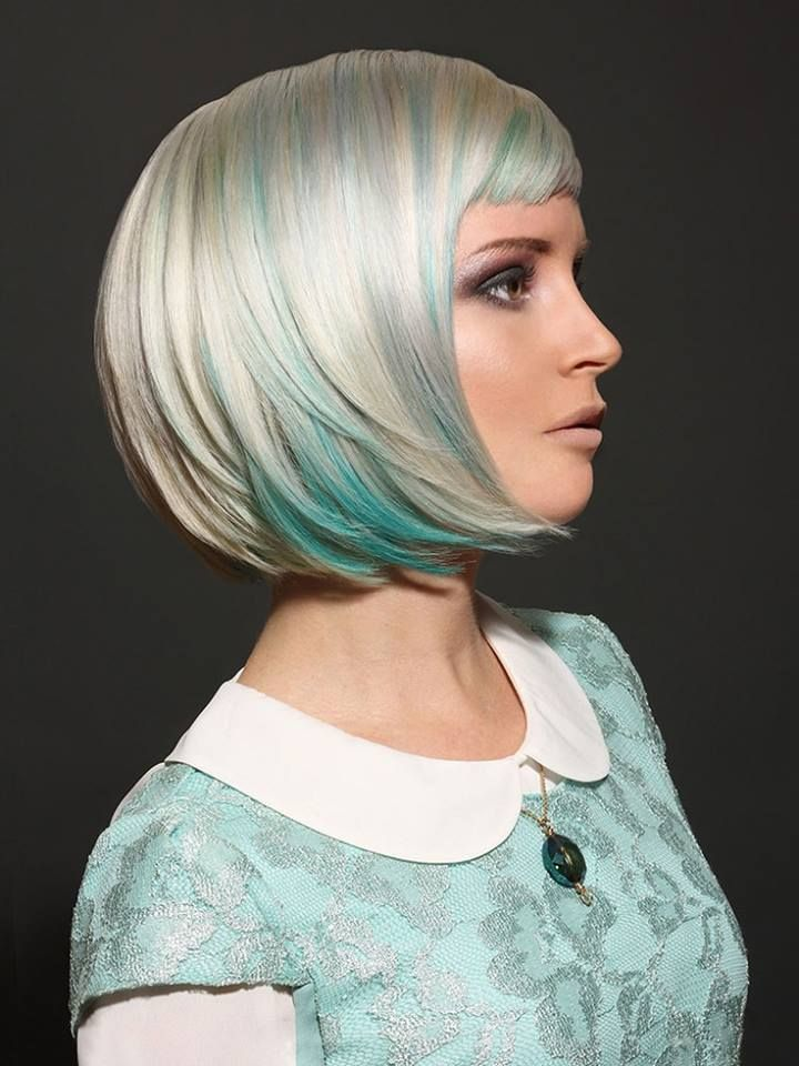Platnum blonde with blue peek a boo color. This would also look amazing with other color combos.
