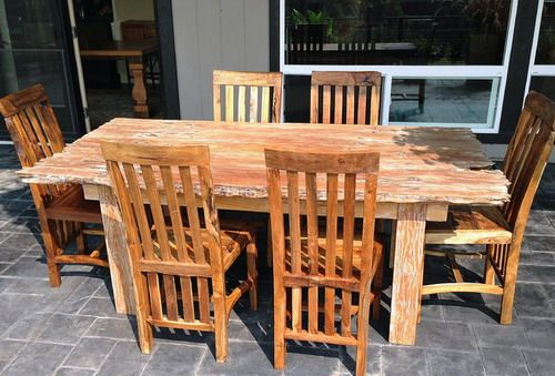 Rustic Reclaimed Teak Dining Table & Chairs Rustic Outdoor Dining Sets Garden Furniture - boise - by Impact Imports